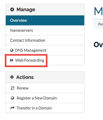 Web Forwarding Left Hand Menu