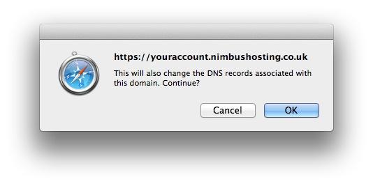 Web forwarding DNS Warning
