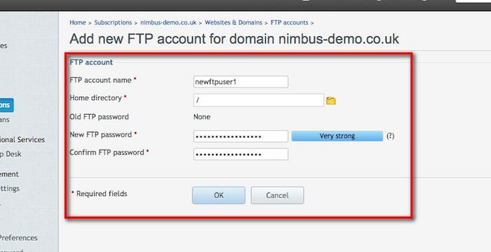 FTP User Info