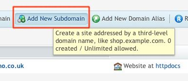 Add New Subdomain