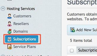 Subscriptions Button