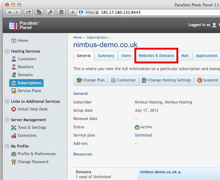 Websites & Domains Button