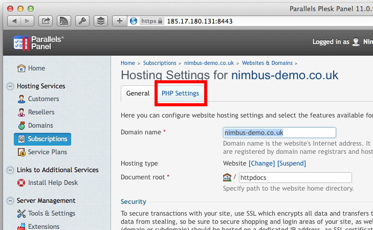 PHP Settings Tab
