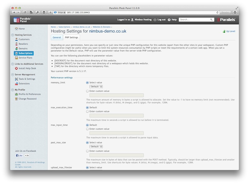 PHP Settings Page
