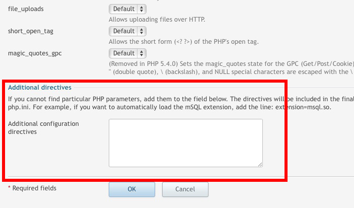 Additional PHP Parameters Box