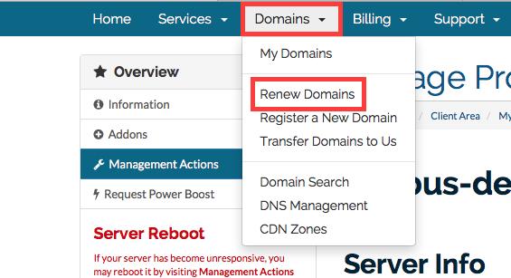 Domain Renew menu