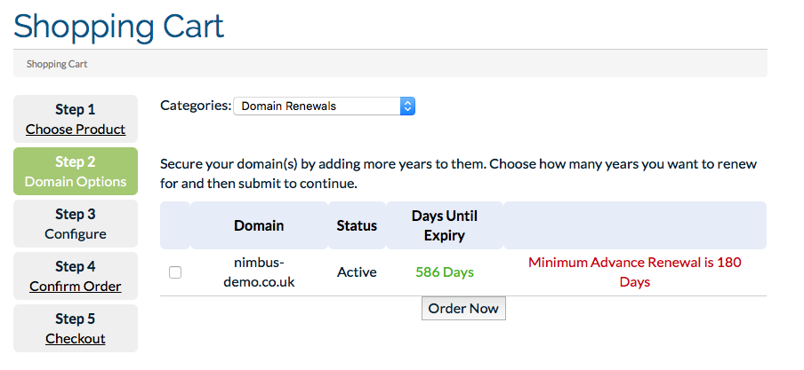 Domain Renew Screen